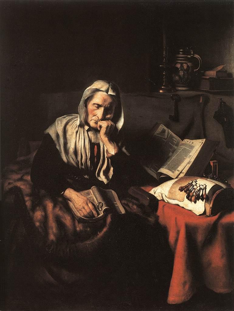 © N. Maes, Vecchia che dorme, 1656