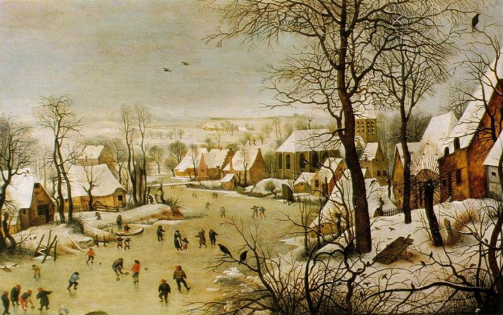 © P. Bruegel, Paesaggio invernale con pattinatori e trappola per uccelli, 1565