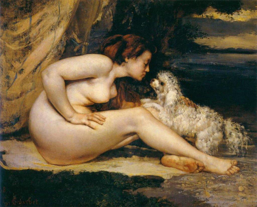 Gustave Courbet , Donna nuda con cane, 1862